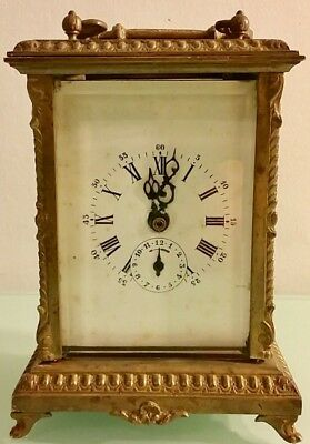 Antique French Travel Carriage Clock Alarm 1878