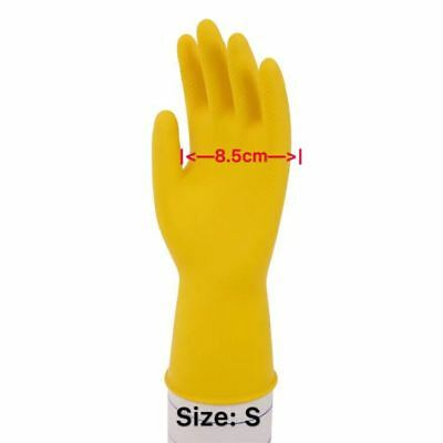 10X Industrial Latex Rubber Gloves Anti Acid Chemical Resistant Yellow Reusable