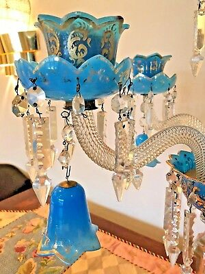 PAIR Early 19th Century BACCARAT Blue OPALINE 4-ARM CRYSTAL CANDELABRAS w/BELLS