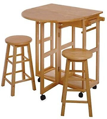 Breakfast Nook Furniture Table Stools 3 Piece Set Drop Leaf Counter Bar Kitchen