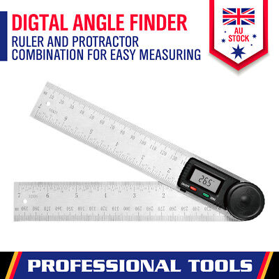 200mm/0-360° Digital Angle Finder Ruler Protractor Measure Meter Stainless Steel