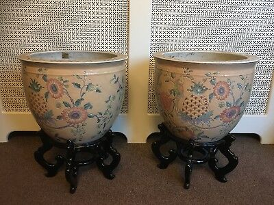 Pair of Chinese Jardinieres fish bowls with wooden stands
