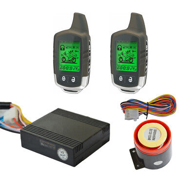 BANVIE 2 Way Motorcycle Alarm Security System with Two  LCD Transmitters Remote