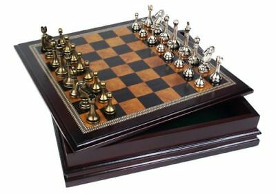 METAL CHESS SET Deluxe Classic Wood Board and Storage Set Brand New