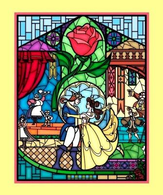 Disney Beauty Beast Stained Glass Fabric / Cot Quilting Wall Hanging Panel Belle