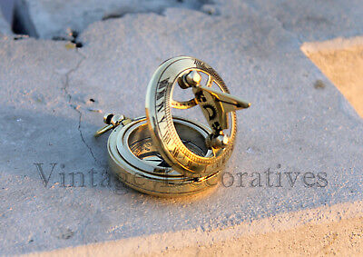 Shiny Brass Sundial Compass Marine Working Pocket Compass Collectible Compass