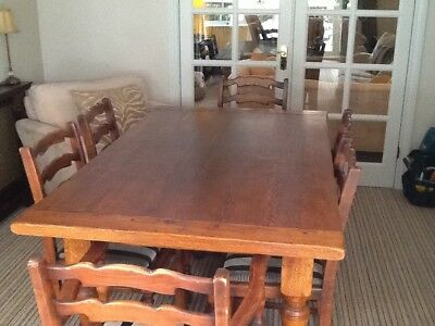 Solid Oak Refractory. Table Jacobean Style With 6 Chairs