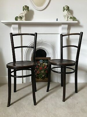 Pair of pretty antique bistro style chairs ** Patterned seat