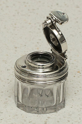 Antique Silver/Glass Travelling Inkwell, Perfume Bottle by Thomas Diller, 1837