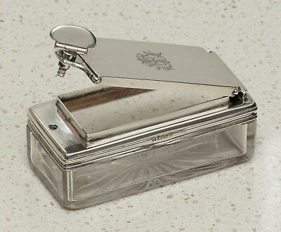 Antique Silver/Glass Travelling Inkwell, Perfume Bottle - Archibald Douglas,1836