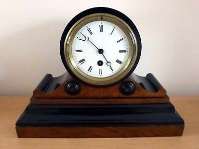 Walnut And Ebony Drum Head Mantel Clock