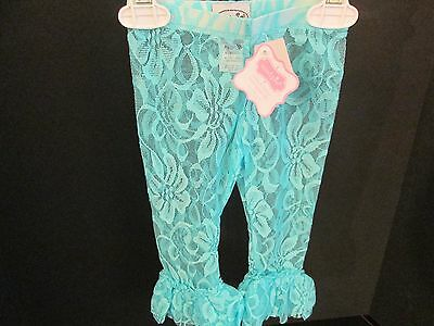Mud Pie Aqua Lace Leggings with Ruffles, Size 12-18 Months, NWT