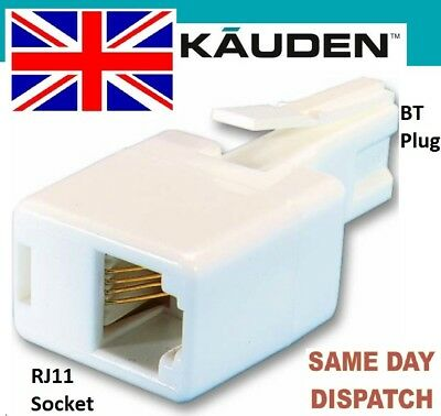 RJ11 Socket to BT UK Plug Adapter Connector Telephone Cable Fax Kauden BTUS2