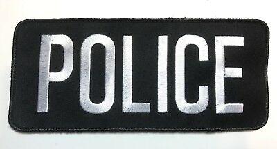 Police Bag Patch, Law Enforcement, White on Black, Hook Rear