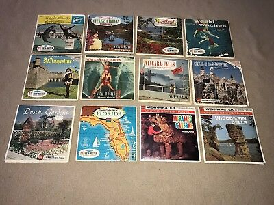 "Vintage Lot of 36 ""Misc. Travel"" View-Master Reels / Florida, WI Dells, etc."
