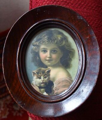 Edwardian - Victorian Wooden Oval Frame With Print