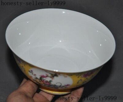 Marked old Chinese wucai porcelain Enamel color bird Dynasty palace Tea cup Bowl