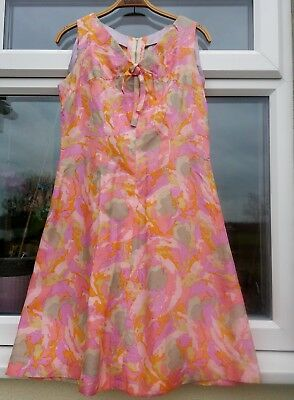 """VINTAGE 60s HANDMADE FIT AND FLARE STYLE DRESS/VIBRANT PINKS/ORANGES/40"""" BUST"""