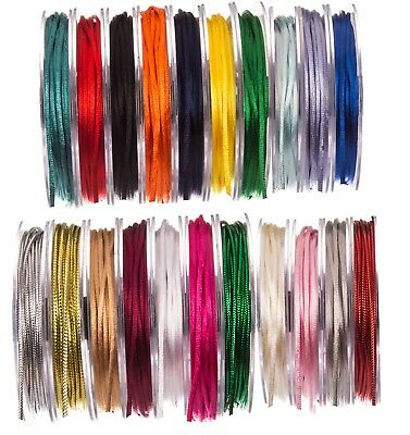 Full Reel Quality 3mm Satin Rattail Silk Cord Stunning 20m on Reel CHOOSE COLOUR