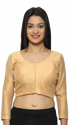 Indian Plain Ready to wear Saree blouse with front hooks crop Top Choli 4012 UK
