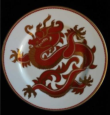 Fitz & Floyd Ching Dragon Fine Porcelain Salad Plate Decorative Red Gold Trim