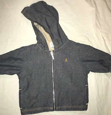 Baby Gap Jacket 3-6 Months Blue Jean Lightweight Teddy Bear Unisex Baby Zip Up