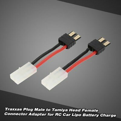 2X Traxxas Plug Male to Tamiya Head Female Connector for RC Car Battery Charger