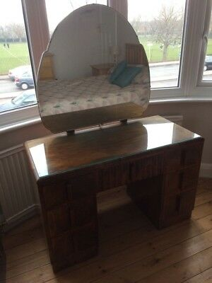Stunning Art Deco walnut dressing table with tilting mirror