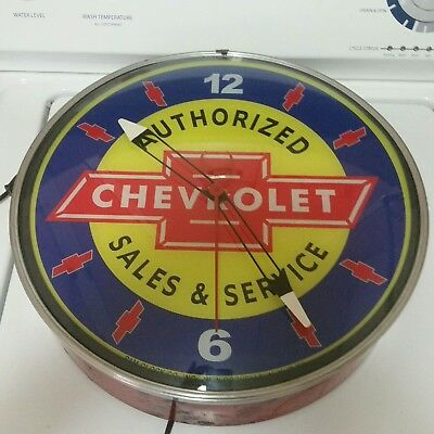 C. 60's Chevrolet Sales and Service Advertising Clock Sign soda gas station oil