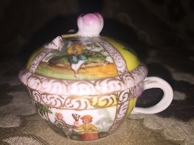 Fine Antique Dresden/Helena Wolfsohn Small Covered Cup