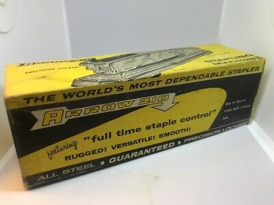 Vintage Arrow 210 Heavy Duty Desk Stapler Gray Color Made In USA With Box & Tags