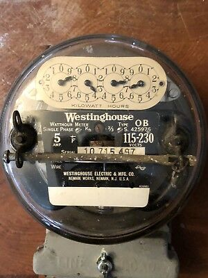 Electric meter Westinghouse Type OB 115-240 volt 5 amp 1930s Locked W Seal