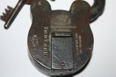 Antique Chubb Detector Brass Padlock With Original Key