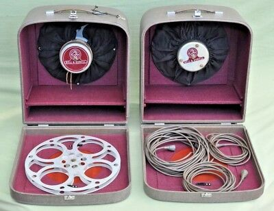 Pair Vintage Bell and Howell Projector Filmsound Speakers & Cables GB Equipments