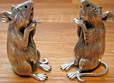 Quality Pair Of English HM Sterling Silver Novelty Rat Cruet Salt Pepper Shaker