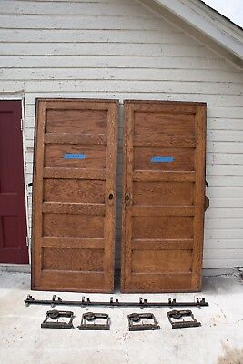 Set Antique 5 Panel Pocket Doors Door Double Rollers & Track 84x36 1910 salvage