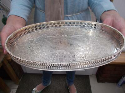 Vintage Silver Plated Gallery Champagne Tray By Viners Of Sheffield