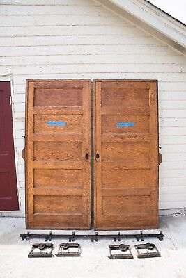 Set Antique 5 Panel Pocket Doors Door Double Rollers U0026 Track 84x36 1910  Salvage