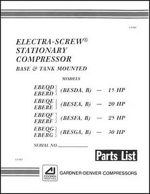gardner denver electra screw air compressor parts manual 25 00 rh picclick com Environmental Manual Instruction Manual
