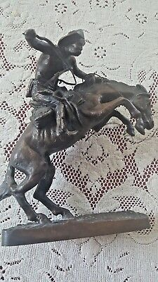 "Franklin Mint / Fredrick Remington Statue ""The Broncho Buster"" Bronze 1988 -"