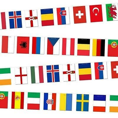 """High Quality Euro 2016 Bunting 24 Countries - 12""""X18"""" - Rope of Flags"""