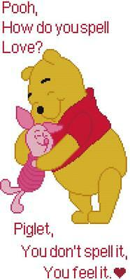 ff3a81abacea CROSS STITCH+ CRAFT PATTERN Winnie Pooh Bear Piglet Pig What Love Is Saying  Hug