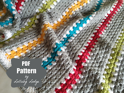 PDF CROCHET PATTERN to make this modern granny stripe blanket for baby or  home