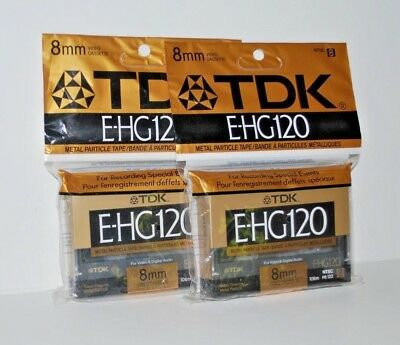 TDK E-HG120 Camcorder Video Cassette Tapes New 8MM Metal Particle Lot of 2