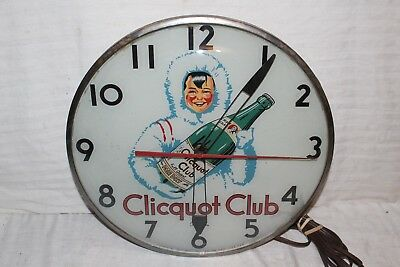 "Rare Vintage 1940's Clicquot Club Soda Pop Gas Oil 15"" Lighted Clock Sign~Works"