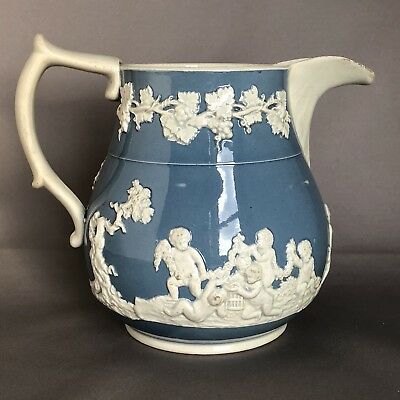 Antique Georgian Pearlware Jug early 19th c c1810 Sprigged design slip decorated