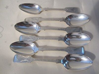 Set Of Six Solid Silver Bright Cut Tea Spoons London 1871 105 grms