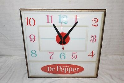 "Vintage 1960's Dr Pepper Soda Pop Gas Oil 15"" Lighted Pam Clock Sign~Works/Nice"