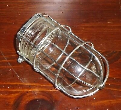 Industrial Age Benjamin Explosion Threaded Clear Glass Globe Light Cover w Cage