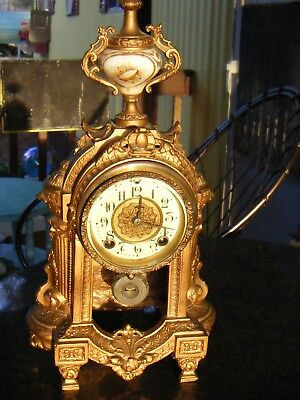 Antique French Mantle CLOCK Attractive Design - Being Sold As is